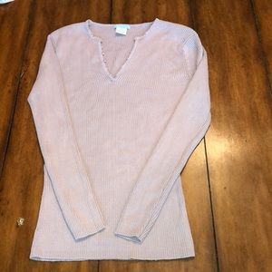 Sweaters - V-Neck Silk Fitted Sweater